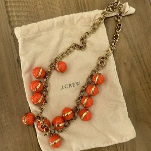 J. Crew Coral & Gold Statement Necklace